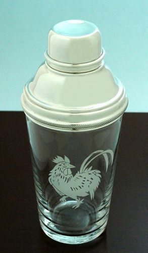 Etched Rooster Cocktail Shaker
