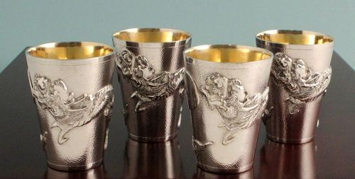 Silver Dragon Shot Glasses