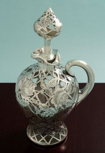 Art Nouveau Silver Overlay Decanter