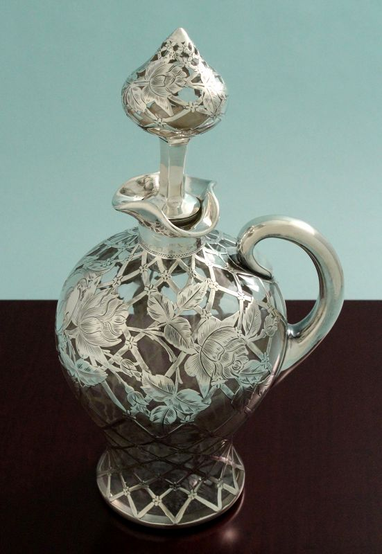 Art Nouveau Silver Overlay Decanter