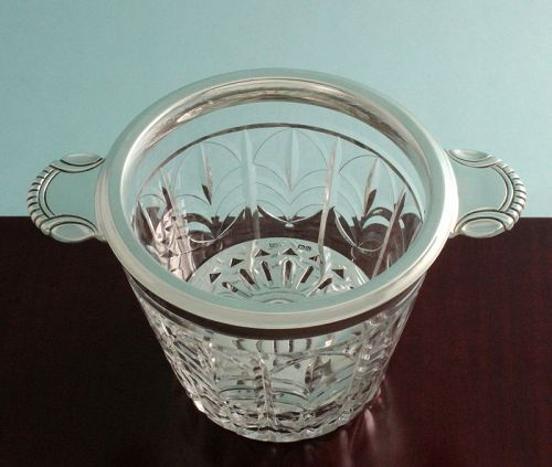 Art Deco Crystal and Silver Ice Cooler