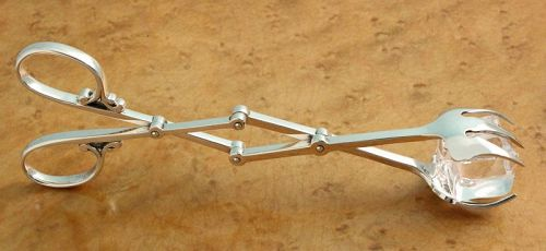 Sterling Silver Scissor Ice Tongs