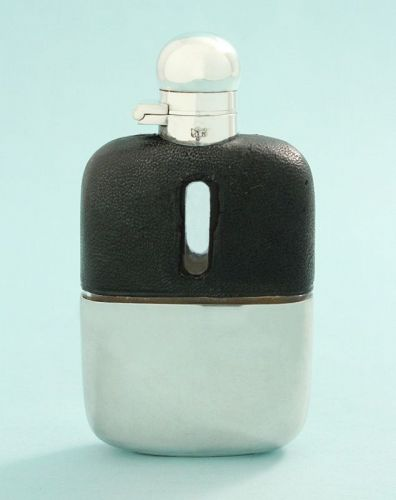 English Leather Covered Flask
