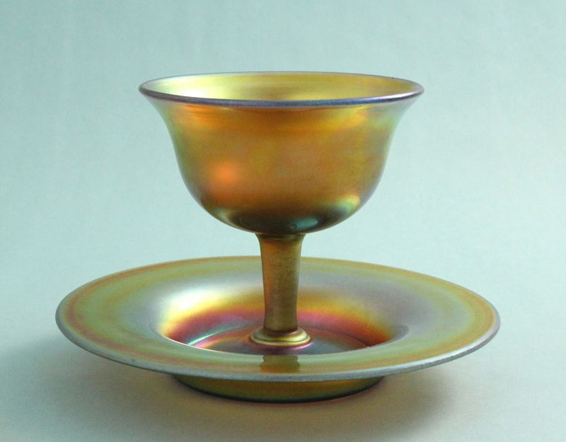Steuben Gold Aurene Sherbet with Underplate