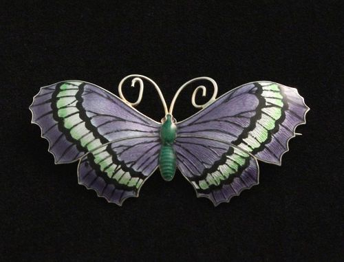 John Atkins Enamel and Silver Butterfly Brooch