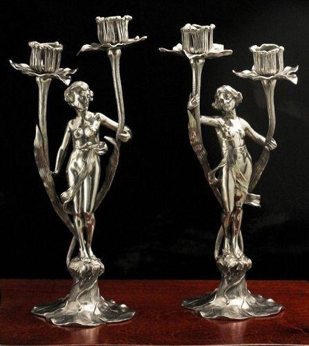 Figural Art Nouveau Pewter Candelabra