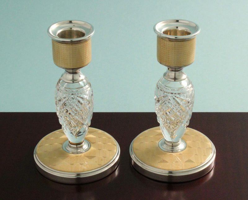 Art Deco Enamel, Silver and Crystal Candlesticks