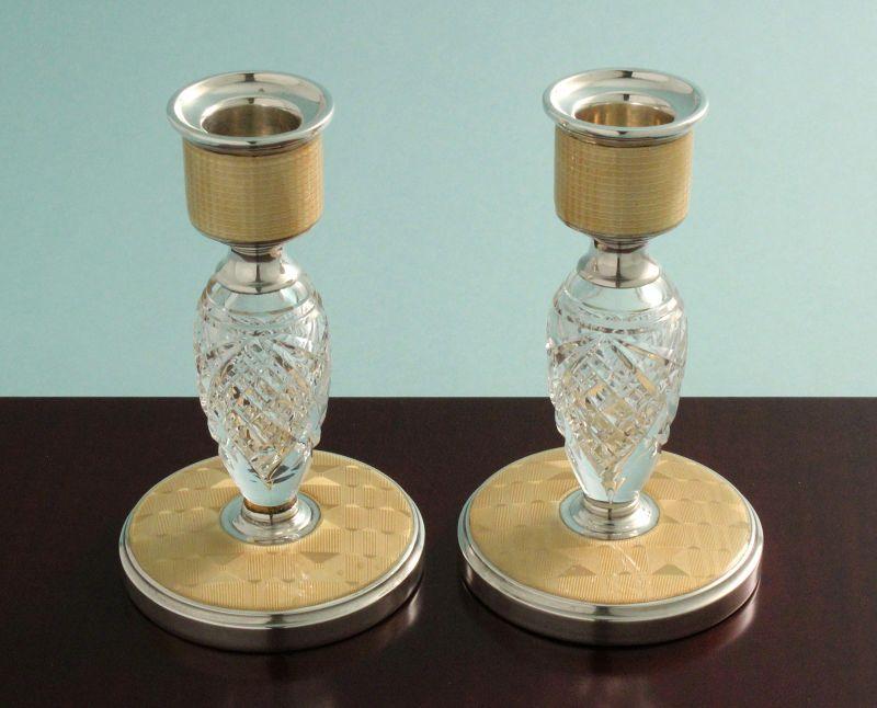 Art Deco Enamel, Silver and Crystal Candlesticks