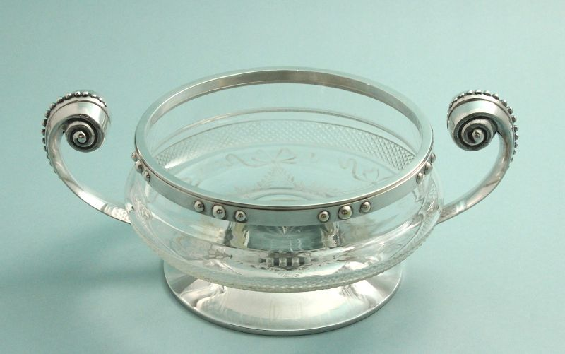 French Art Deco Crystal and Silvered Bowl