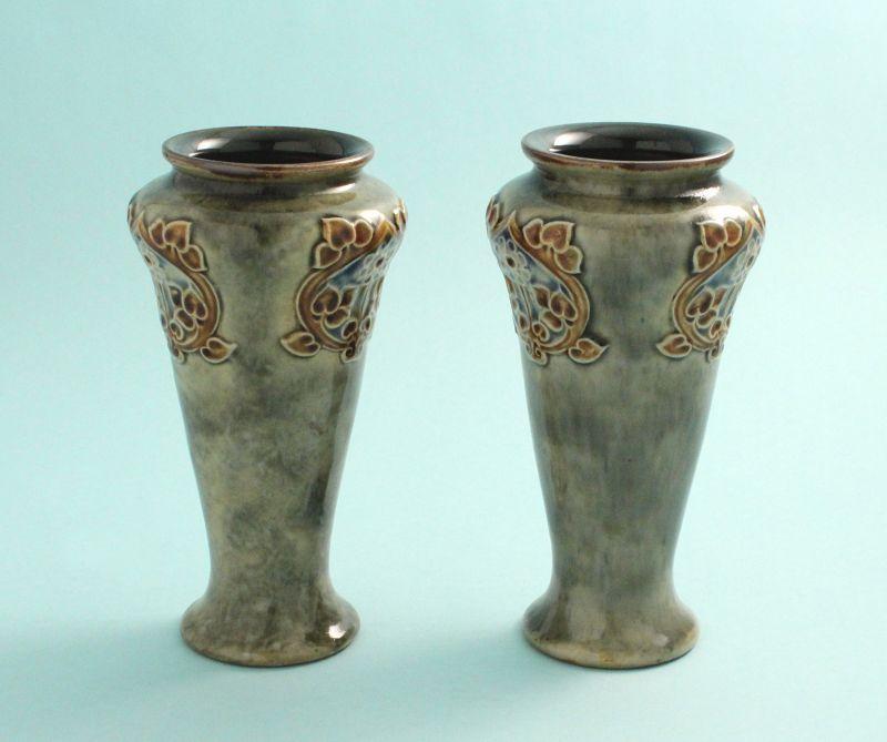 Pair Doulton Lambeth Art Nouveau Vases