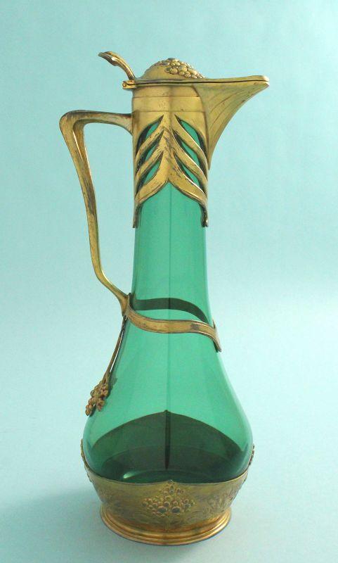 Osiris Art Nouveau Gilded Pewter Wine Jug