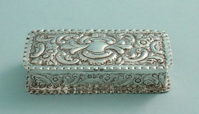 Antique Repousse English Silver Box