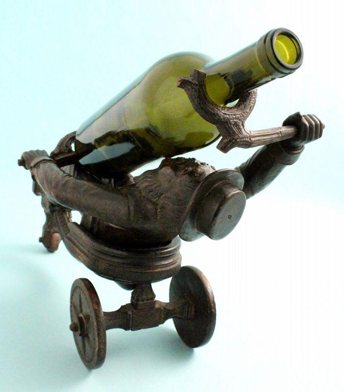 Antique Black Forest Figural Wine Bottle Holder
