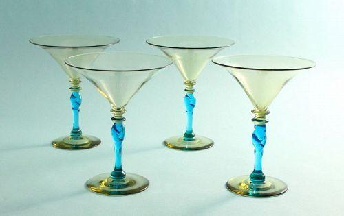 Set of Steuben Cocktail Goblets