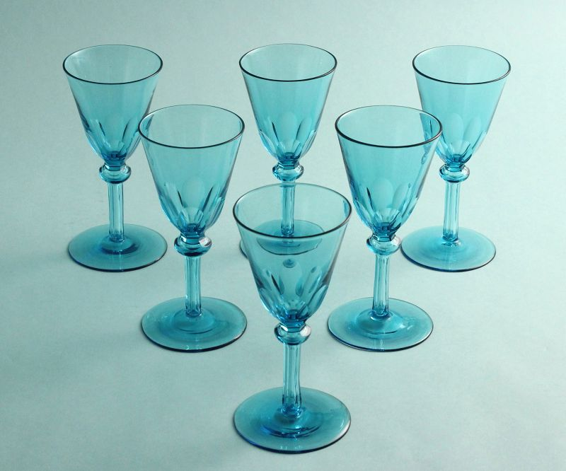 Set-of-Six Aqua Bristol Glasses
