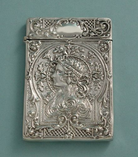 Art Nouveau Silver Card Case