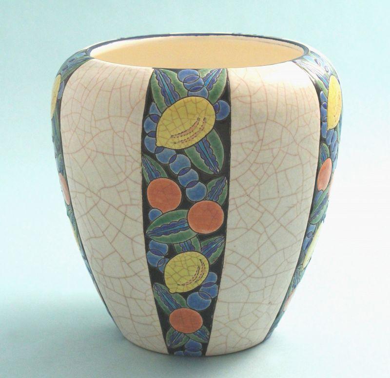 Longwy Art Deco Enamel Pottery Jardiniere