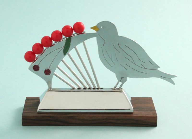 Art Deco Bird with Cherries Cocktail Picks Set