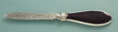 English Enamel and Silver Letter Opener