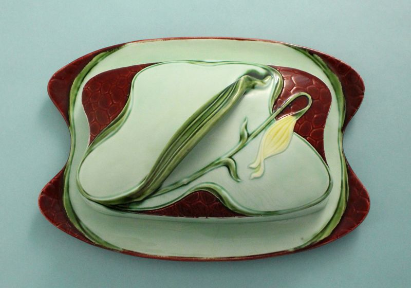 Austrian Art Nouveau Pottery Butter Box