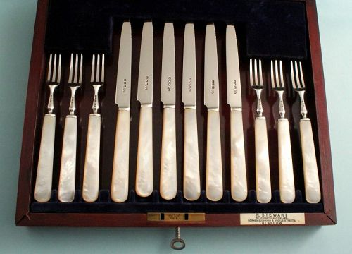Antique Mother-of-Pearl and Silver Dessert Set