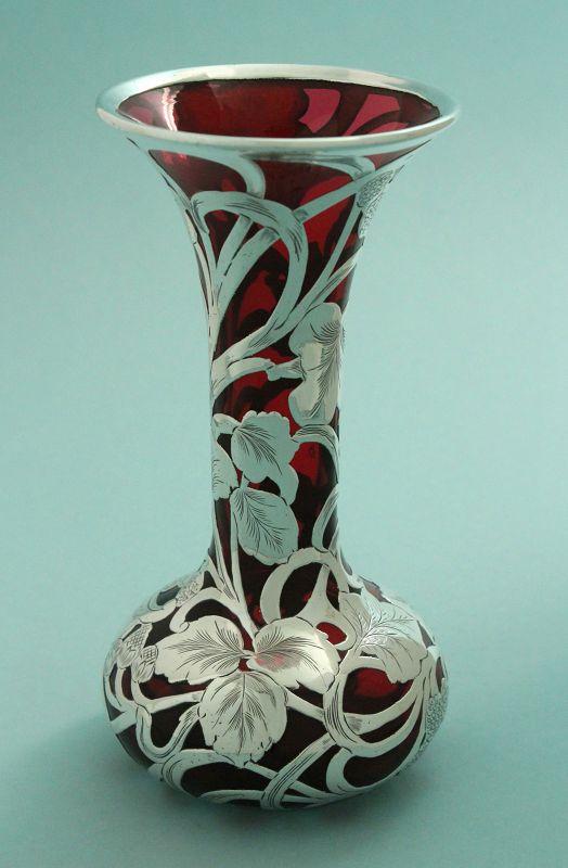Art Nouveau Silver Overlay Vase