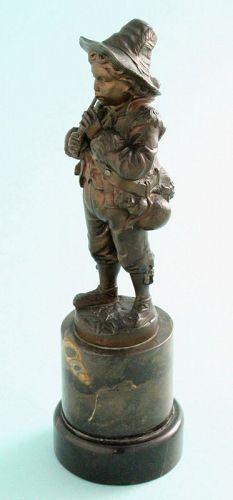 Eugene Barillot Bronze Flute Player