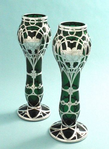 Pair Art Nouveau Silver Overlay Vases