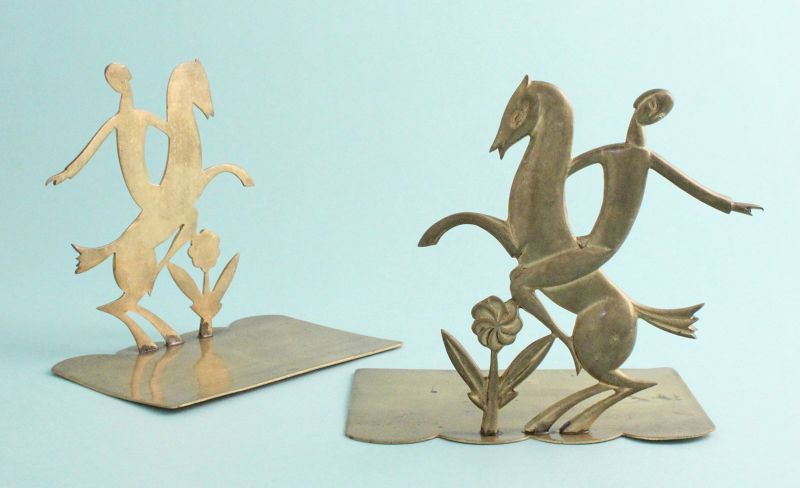Hagenauer Horse-and-Rider Bookends