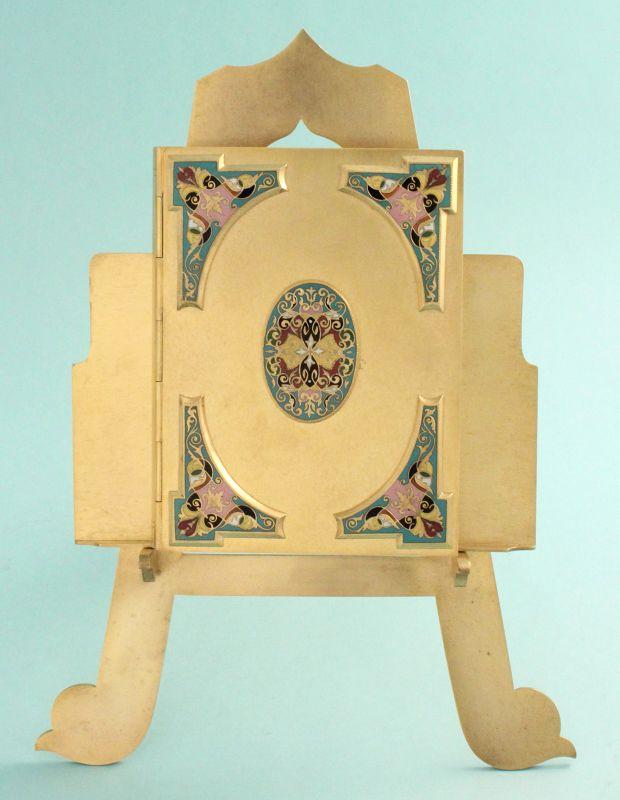 Antique Champleve Enamel Book Form Quadruple Photo Frame