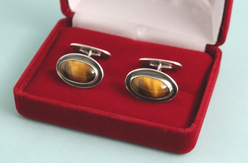 Mid-Century Silver and Tiger-Eye Cufflinks