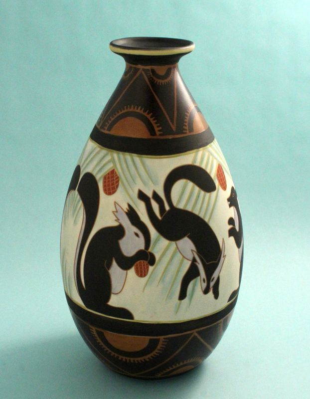 Charles Catteau Design Art Deco Pottery Vase