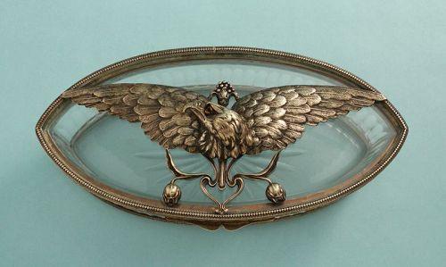 Art Nouveau Bronze Eagle and Crystal Box