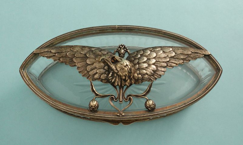 Art Nouveau Bronze Eagle and Crystal Box