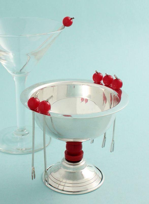 Art Deco Cocktail Cherries Bowl and Picks