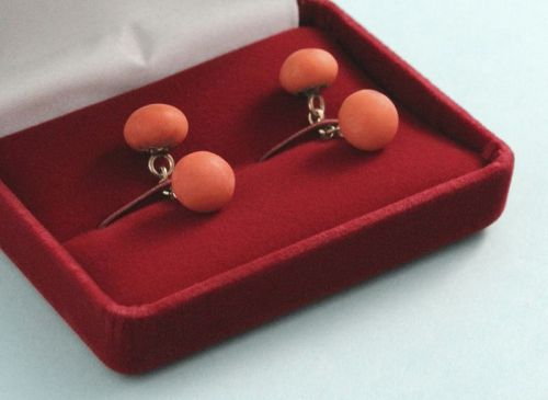 Antique English Coral and Gold Cufflinks