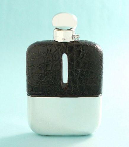 Antique Crocodile Whisky Flask