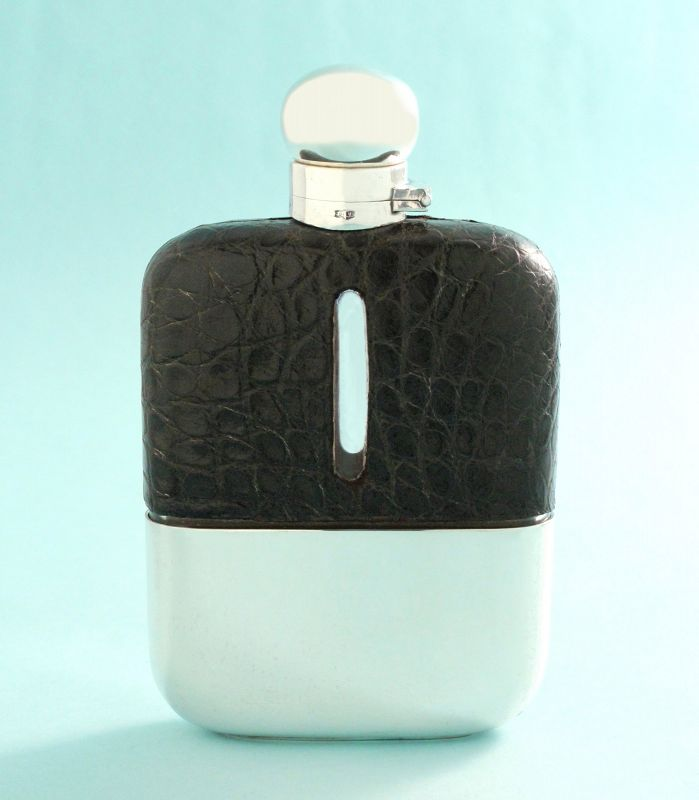 Antique Crocodile Whisky Flask