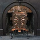 English Art Nouveau Copper and Iron Fire Screen