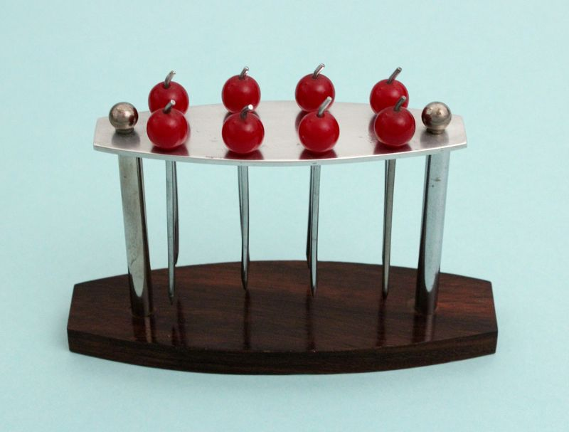 Art Deco Bakelite Cherries Cocktail Picks Stand