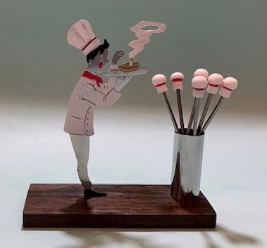 French Chef Art Deco Cocktail Picks Set