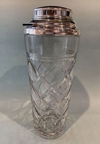 Webster Crystal and Silver Cocktail Mixer and Shaker