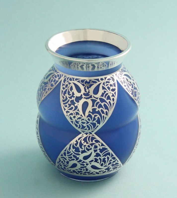 Secession Silver Overlay Glass Vase