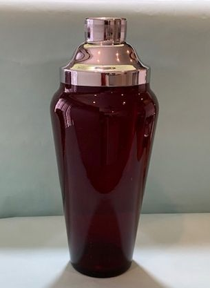 Ruby Red Glass Cocktail Shaker