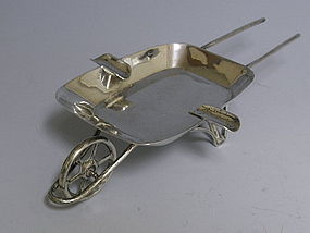 Mexican Sterling Silver Wheelbarrow Ashtray