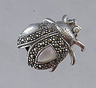 Sterling Silver Marcasite Ladybug Pin with Moonstone