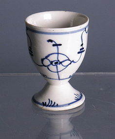 Blue Onion and White Porcelain German Eggcup