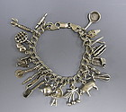Sterling Silver 20 Charm Bracelet w/ Utensils, Food