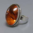 Moderne Amber and Sterling Silver Ring