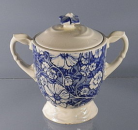 Vernon Kilns Blue Blossom Time Sugar Bowl with Lid